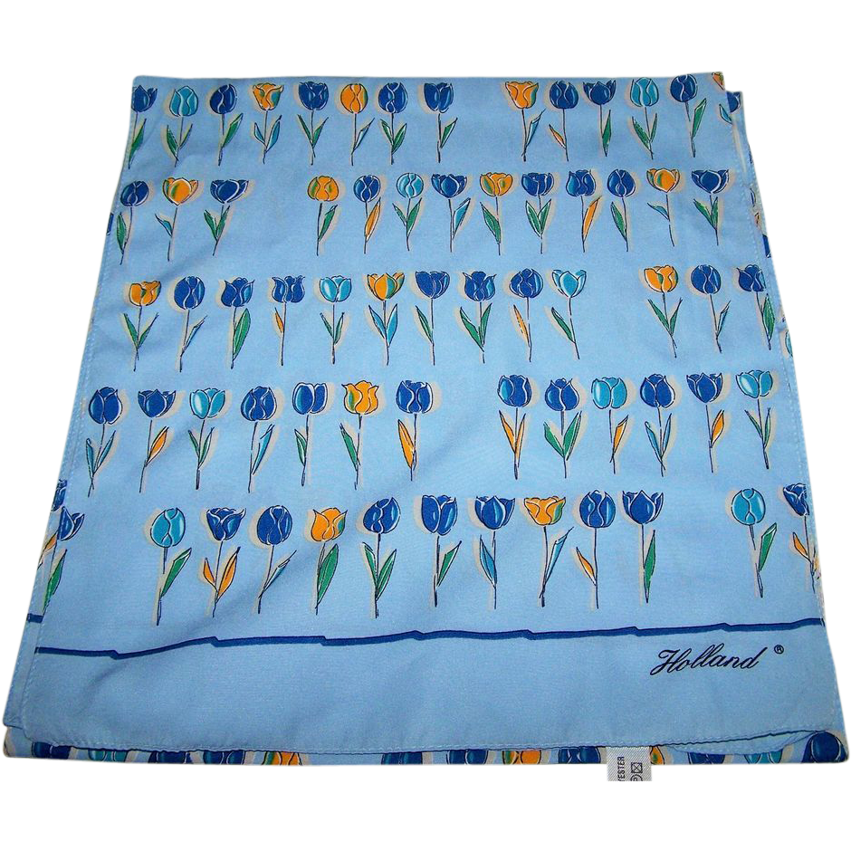 Oh What A Charming Vintage Signed Holland R Tulip Flower Scarf From Victoriasjems On Ruby Lane