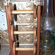 Vintage Wooden Lazy Kate 3 Bobbins Style