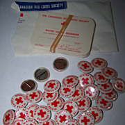 Vintage Red Cross Water Safety Beginner Pinback Pin  & Cards