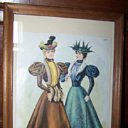 Vintage Framed Fashion Print The Delineator &quot; Visiting Toilettes &quot;