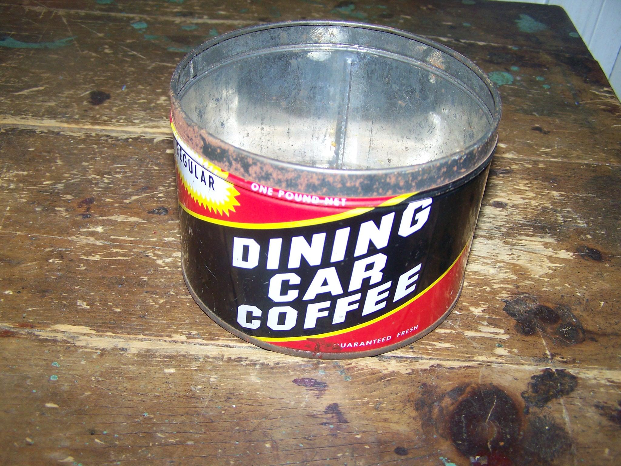Vintage collectible dining car coffee advertising tin can for L furniture warehouse victoria bc