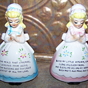 Vintage Japan Gift Craft  Prayer Salt & Pepper Shakers