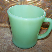 Vintage Green Jadeite  Glass Mug Fire-King D Handle