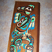 Northwest Coast Painted Thunder Bird And Whale Wood  Plaque