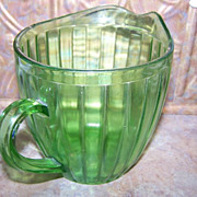 Depression Uranium Glass Water / Juice Pitcher 5.5&quot; tall