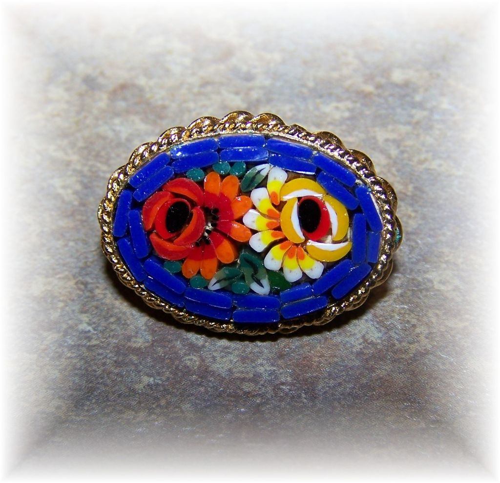 Cheerful Colorful Glass Micro Mosaic Floral Brooch ITALY