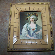 Vintage Colonial Lady Portrait Print  in Celluloid Framed