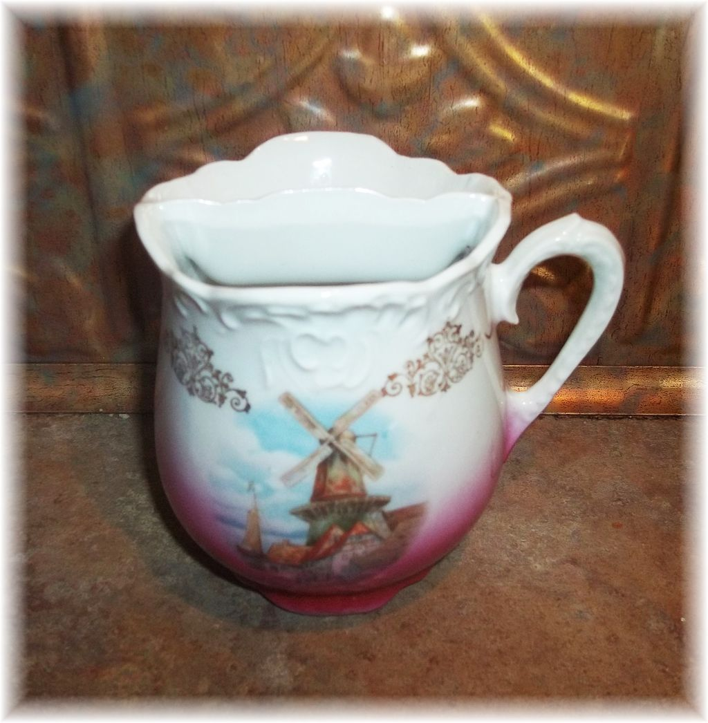 Vintage  Mustache  Mug Cup Windmill Village Scene