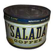 Rare SALADA COFFEE Advertising Tin Can