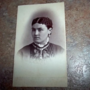 Vintage Portrait  Carte De Visite Lovely Lady Unusual Hair & Jewelery