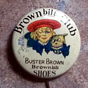 Vintage Celluloid Advertising Pinback Pin Buster Brown
