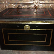 SALE Advertising Tin Chest Cash Box Harry W. De Forest Direct Importer & Tea Blender St. John 