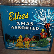 Decorative Vintage Elkes Xmas Assorted Advertising Biscuit Tin Box