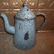 Vintage Primitive Enamel Ware Graniteware Coffee Pot