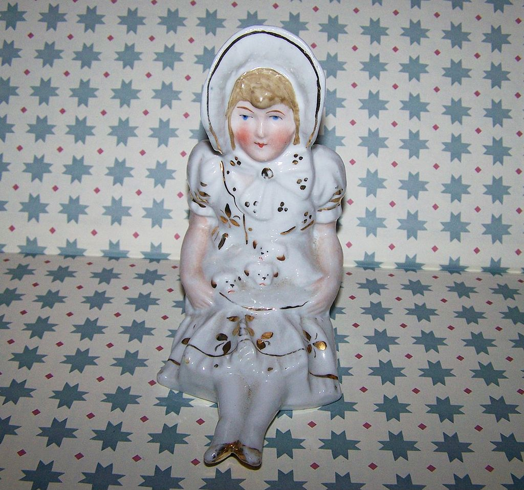 Shelf Sitter  Porcelain Figurine Bonnet Lady  Puppies