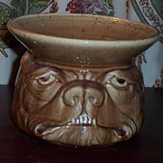 Rare Vintage Dog Face Pottery Spitoon / Spittoon