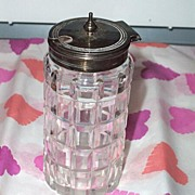Vintage Cut Glass Mustard Pot EPNS Lid