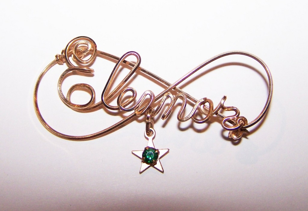 Vintage Wire Name  Brooch / Pin  Eleanor Star Green Rhinestone