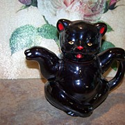 Rare Not Often Found Figural Red Ware Black Bear Hand Painted Tea Pot