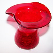 Deep Orangey Red Crackle Glass Vase