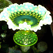 Footed Vaseline Glass Bowl Opalescent Hobnail