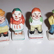 Miniature Ceramic Figurines Japan Little Old Gents & Lady & Musician
