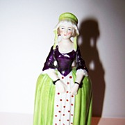 Porcelain Purple & Green Colonial Era Lady Figurine Germany