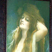 Rare Framed Vintage Bryson Risque Calendar Girl Early 1900's