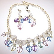 Pastel Multi-Colored 1980's Faux Pearl & Plastic Faceted Heart Necklace & Earring Demi