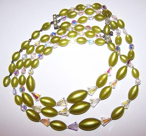 Triple Stranded Faceted Crystal & Yellowish Green Plastic Beaded Necklace