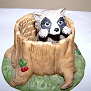 Woodland Surprises Raccoon Hand Painted Franklin Porcelain