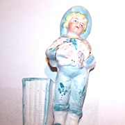 Bisque Hand Painted Little Boy Match Holder / Striker