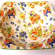 Colorful Handled Porcelain MIJ Chintz Dish