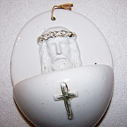 Very Old Porcelain Holy Water Font Germany Cross Jesus Crown of Thorns
