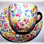 Colorful Chintz Tea Cup & Saucer Burlington Ware J Shaw & Sons LTD England