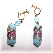 Blue Venetian Glass Wedding Cake Hand Decorated Earrings