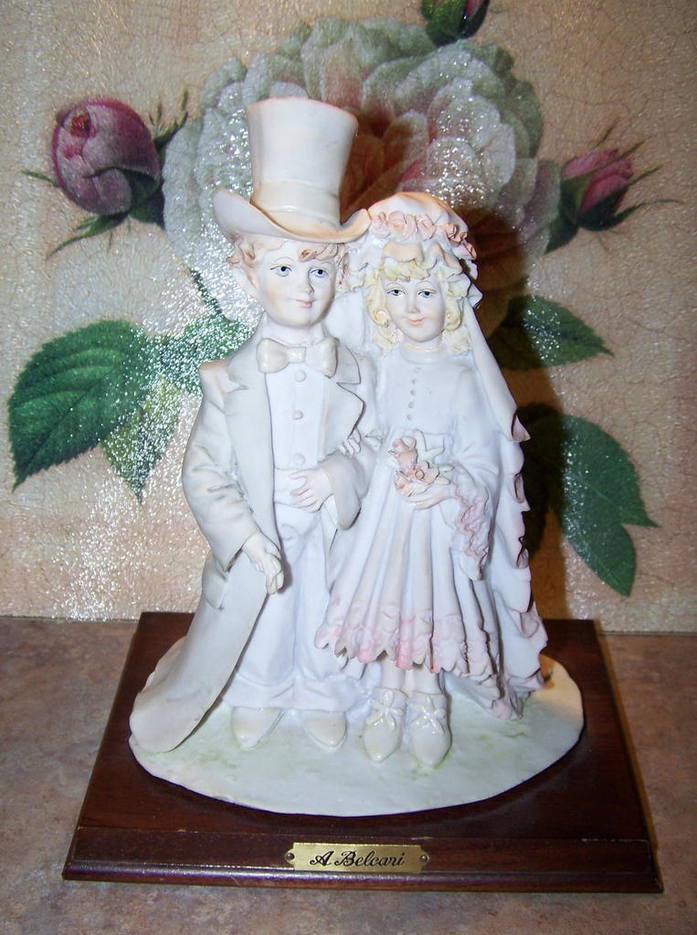 "A. Belcari Art Sculpture  Bride Groom Figurine by Arnart C. 1985 ""Dear"""