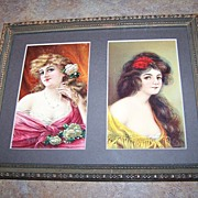 Two Lovely Art Nouveau Era Lady Flowing Hair Post Cards Framed