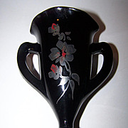 Vintage Black / Purple Amethyst Glass Vase Loving Cup