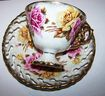 Lustre Ware Yellow & Pink Roses Motif Tea Cup & Saucer