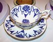 Blue Transferware Coalport Tea Cup & Saucer Floral Motif