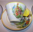 Flower / Floral Handle Floral Motif Tea Cup & Saucer MIJ