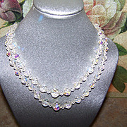 Double Stand Faceted Aurora Borealis Crystal Necklace 16&quot;