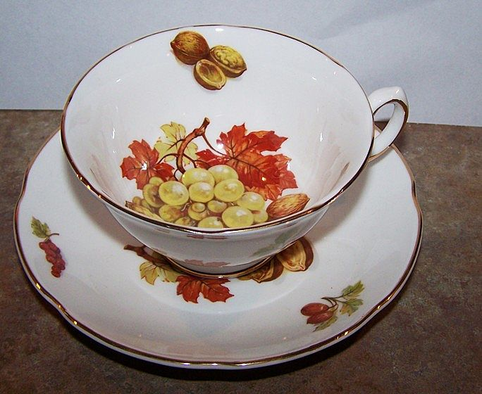 Royal Grafton Tea Cup & Saucer Walnuts , Grapes & Maple Leaves