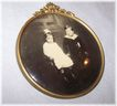Unique Victoria Era Framed Celluloid Sepia Portrait Button Little Girl Crossed Eyes & Yng Boy