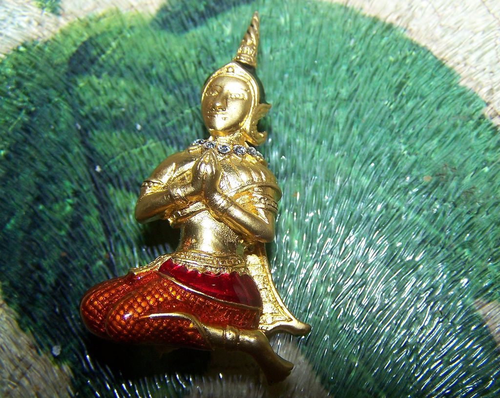 Meditating Asian Themed Figural Pin Rhinestone Enamel
