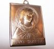 "Vintage Ave Maria Brass Pendant Medal  / Miniature Plaque 2"" by 1.5"""