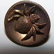 Creepy Vintage Metal Escutcheon Style Spider / Bug Button