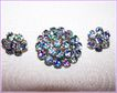 Stunning Iris / Rainbow Rhinestone Brooch & Earring Demi-Parure