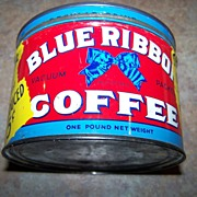 Advertising Blue Ribbon Coffee Tin Can One Pound